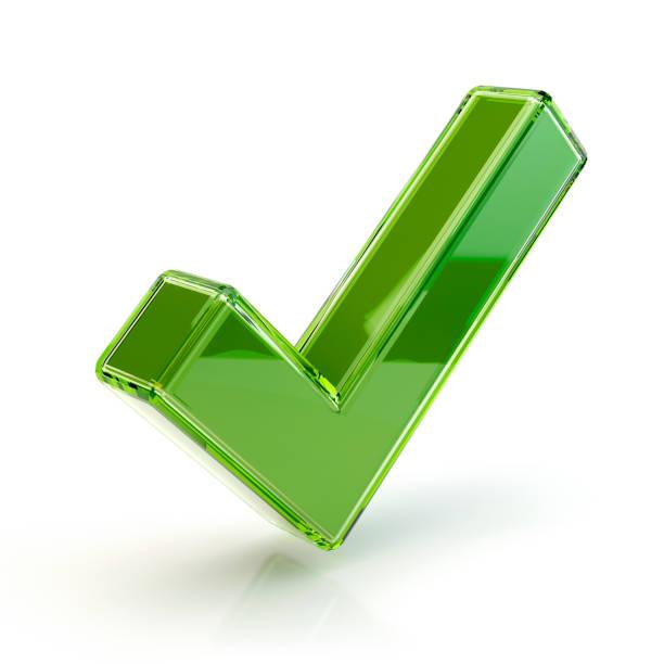 Ein grünes Häkchen, 3D illustration – Foto