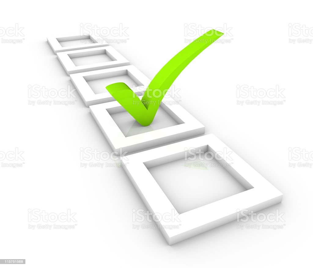 Green check mark centered in one white square of five royalty-free stock photo