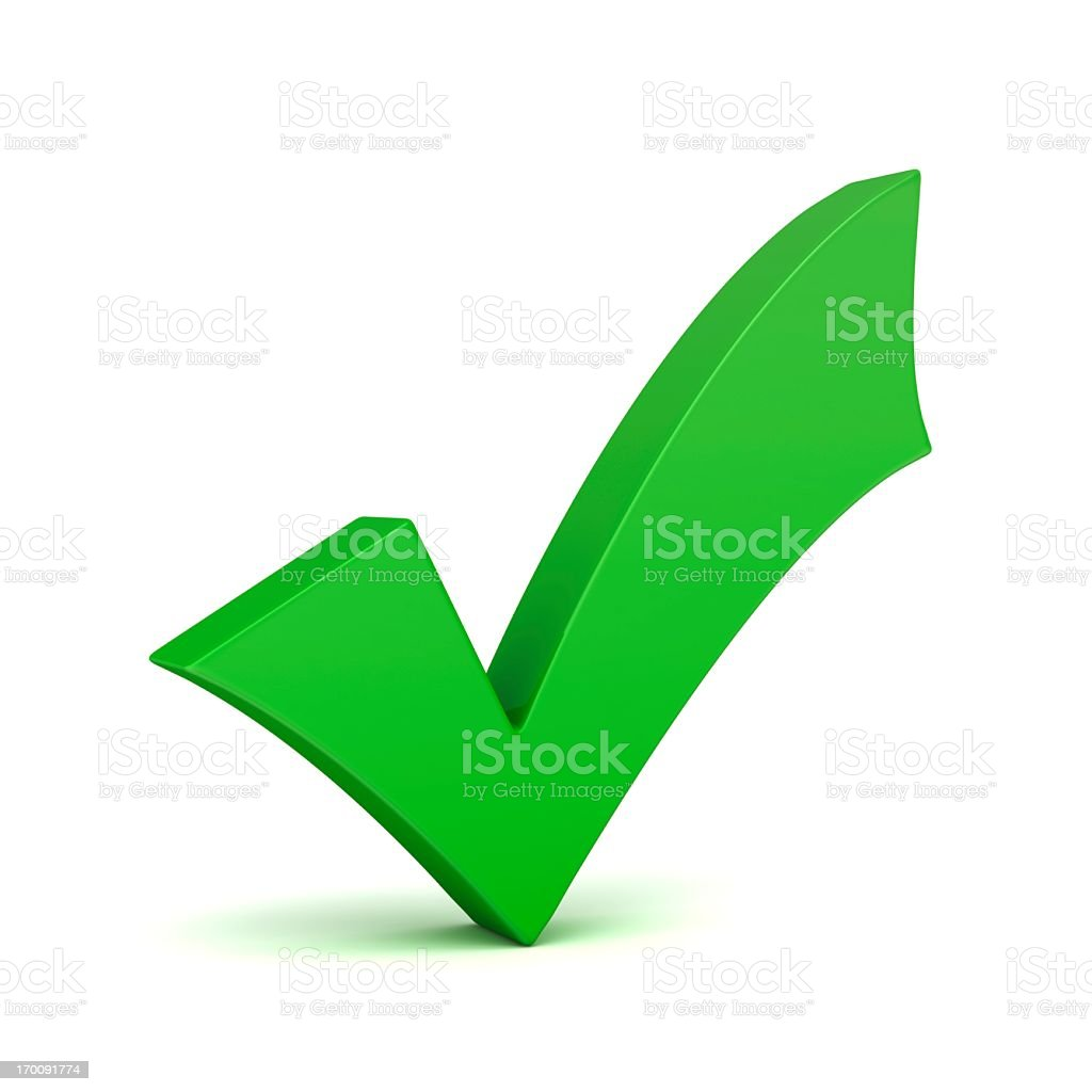 A 3D green check mark on a white background bildbanksfoto