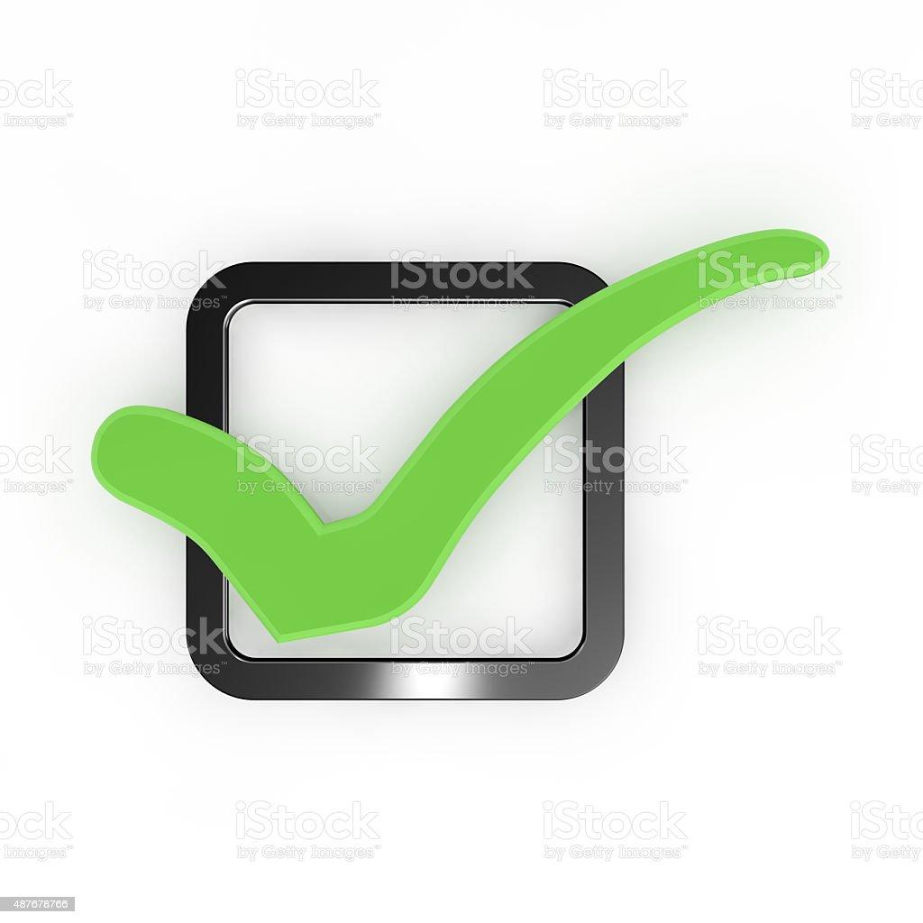Green check mark. stock photo