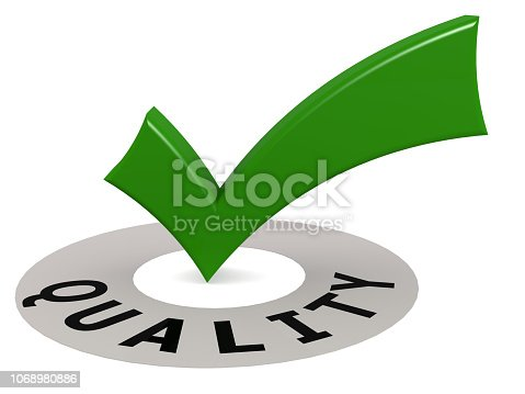 istock Green check mark sign with quality word 1068980886