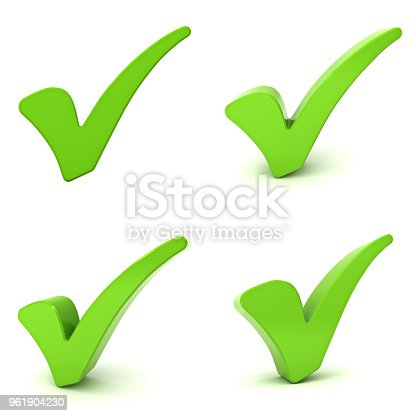 istock Green check marks isolated over white background 3d rendering 961904230