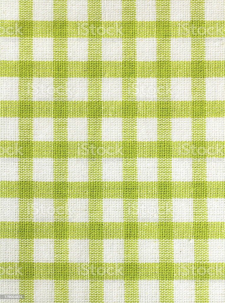 Green checkered kitchen towel with white squares royalty-free stock photo