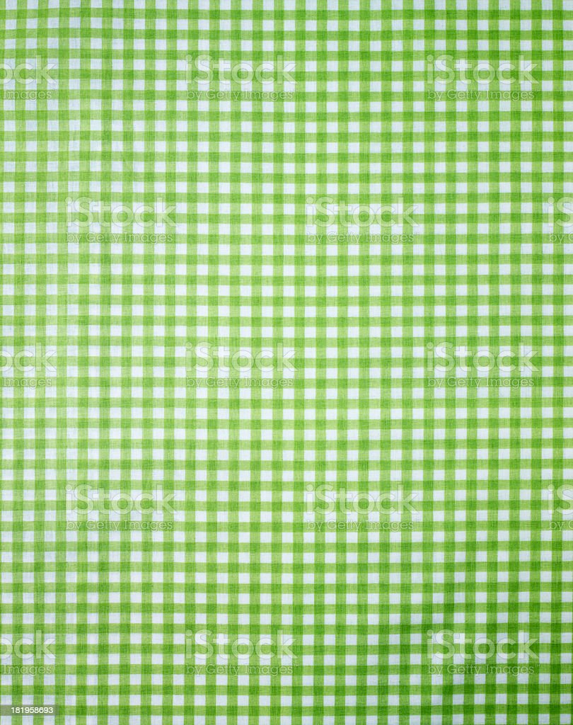 Green checkered pattern tablecloth stock photo