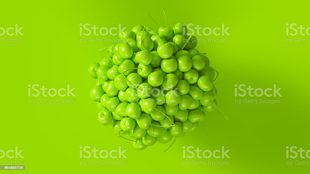 Green Cherries Formed into a Sphere royalty-free stock photo