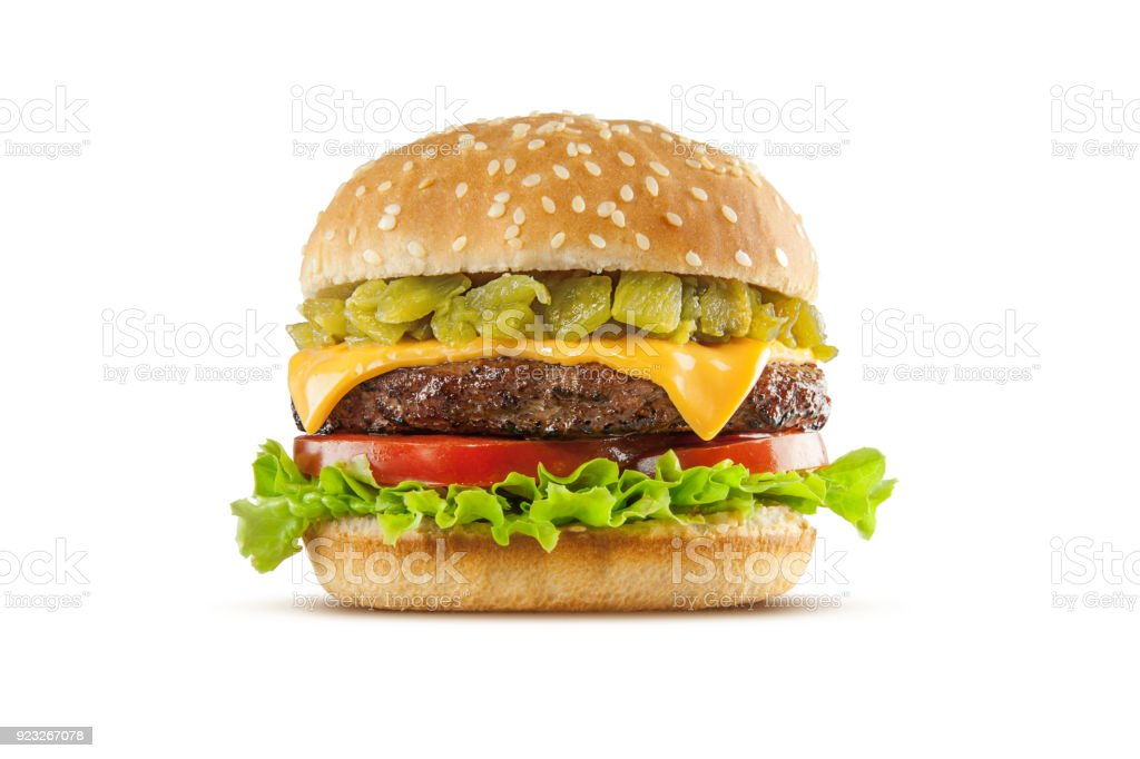 Green Chile Cheeseburger stock photo