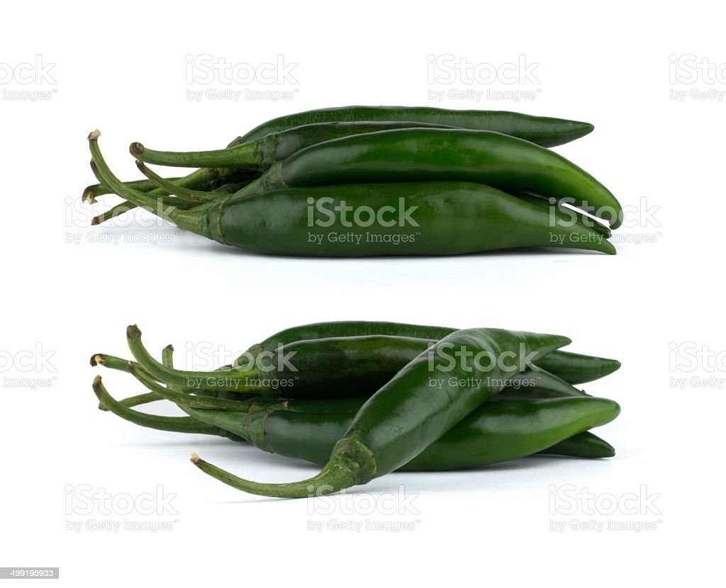 Green chili peppers isolated on white background stock photo
