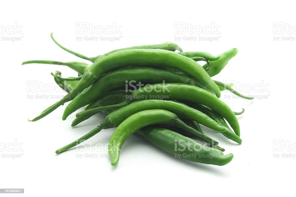 Green Chilli Peppers royalty-free stock photo