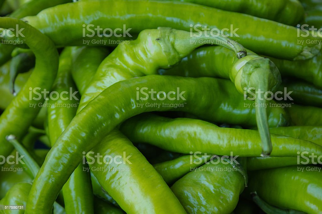 Green chilli peppers stock photo