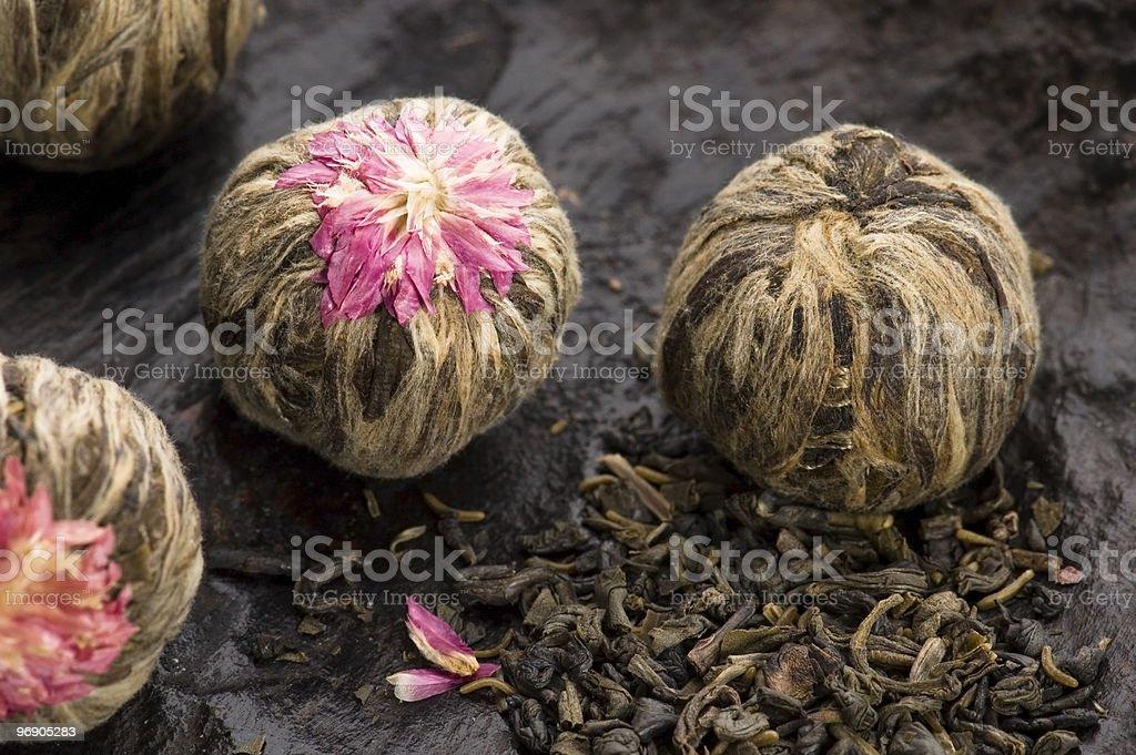 Green chinese tea balls royalty-free stock photo
