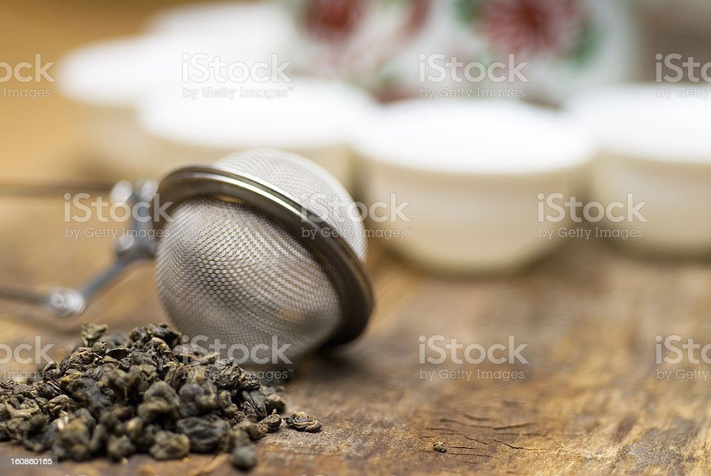 green chinese tea set royalty-free stock photo