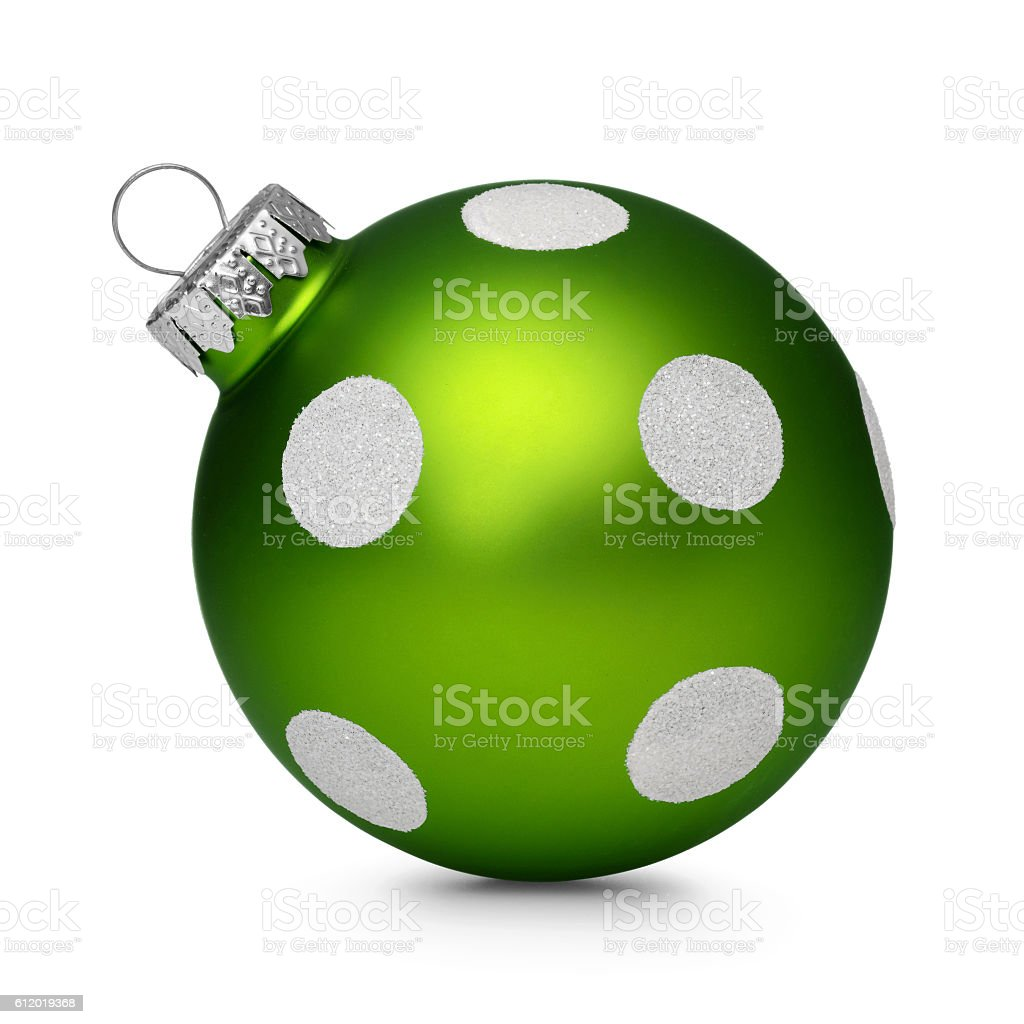 Green christmas ball with spots isolated on white background stock photo