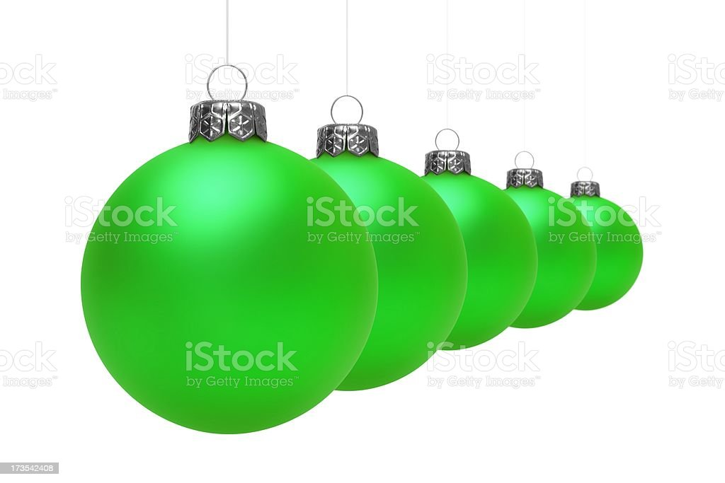 Green Christmas Balls (Isolated) royalty-free stock photo