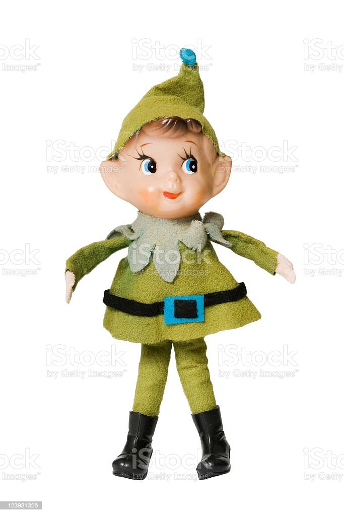 Green Christmas elf on a white background stock photo