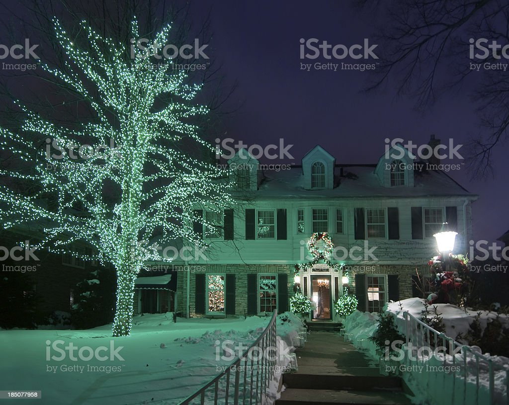 Green Christmas lights stock photo