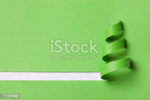 christmas made with green paper on white background