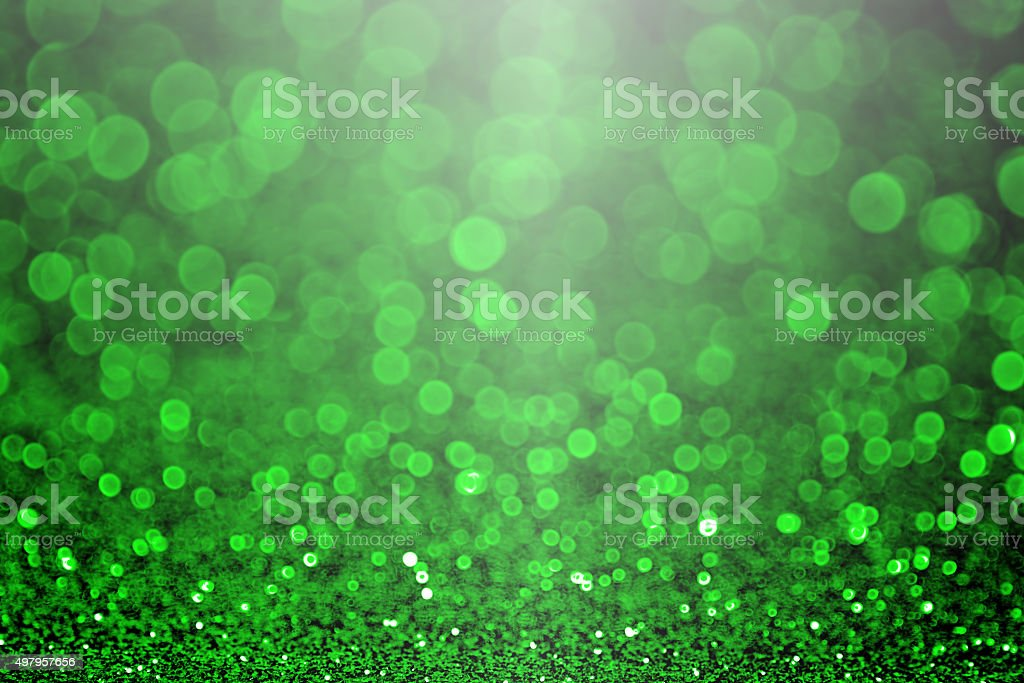 Green Christmas Sparkle or St Patrick's Day Party invitation stock photo