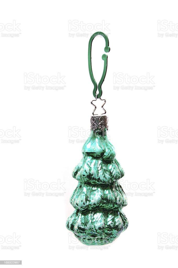 Green christmas tree ornament stock photo
