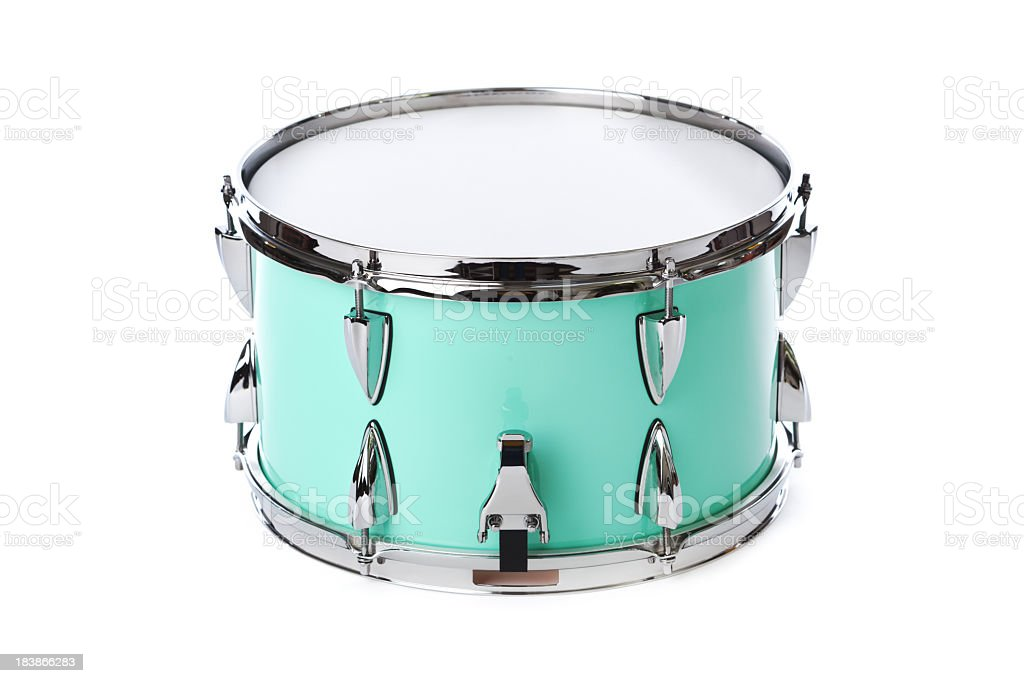 Green, Chrome Snare Drum, Percussion Musical Instrument, Isolated on White stock photo