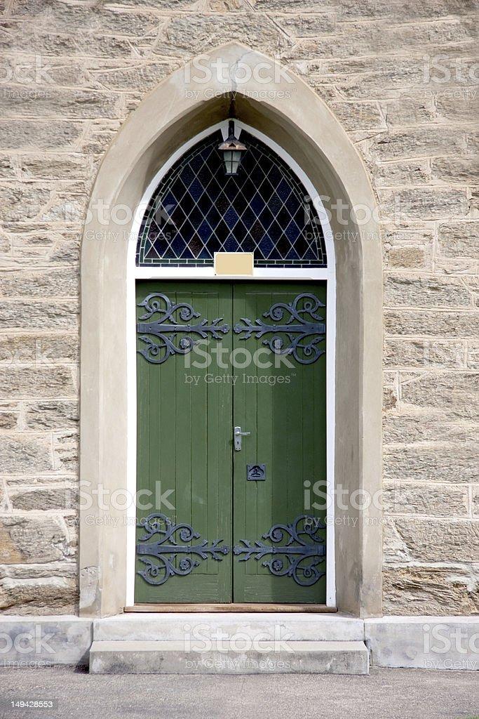 Green Church Door stock photo