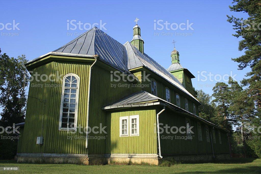 Green church stock photo