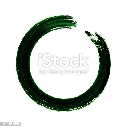 700561460 istock photo Green circle brush stroke frame isolated on white background 942161586