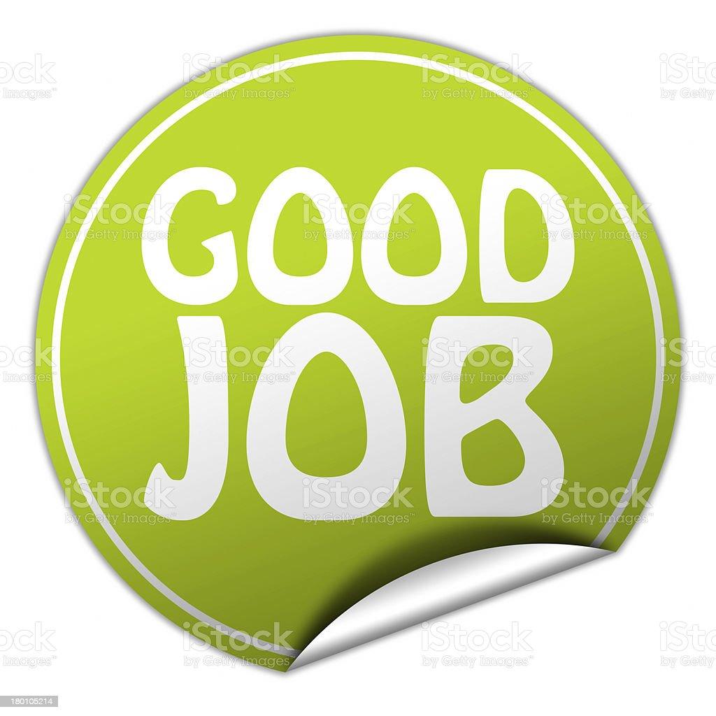 Green circle sticker that says good job royalty-free stock photo