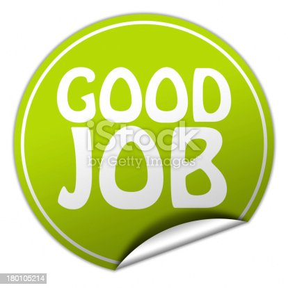 istock Green circle sticker that says good job 180105214