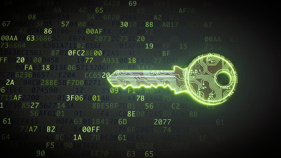 Front view on a green key made to resemble a circuit board and placed in front of binary computer code.