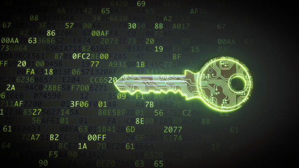 green circuit digital key on binary code - bit binary stock pictures, royalty-free photos & images