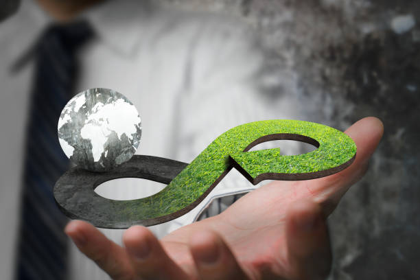 Green circular economy concept stock photo