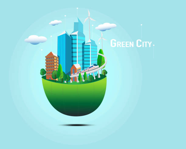 Green City concept vector Green City concept vector electric train stock pictures, royalty-free photos & images