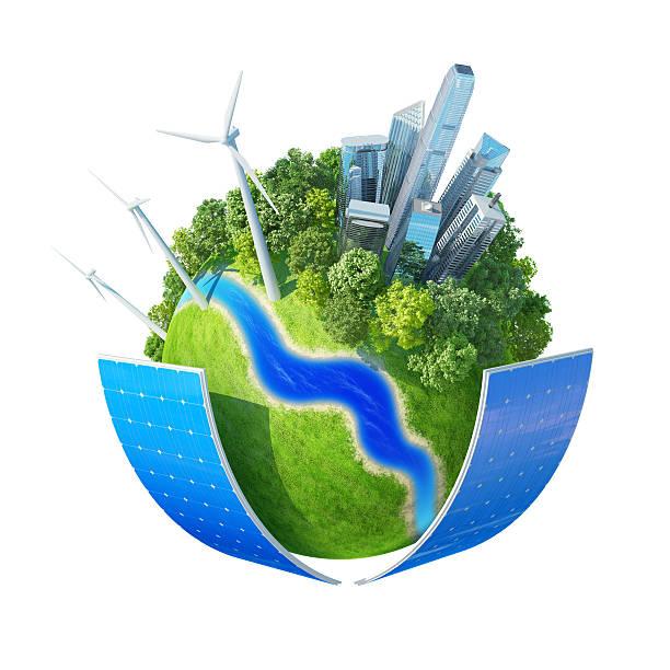 Green city planet concept stock photo