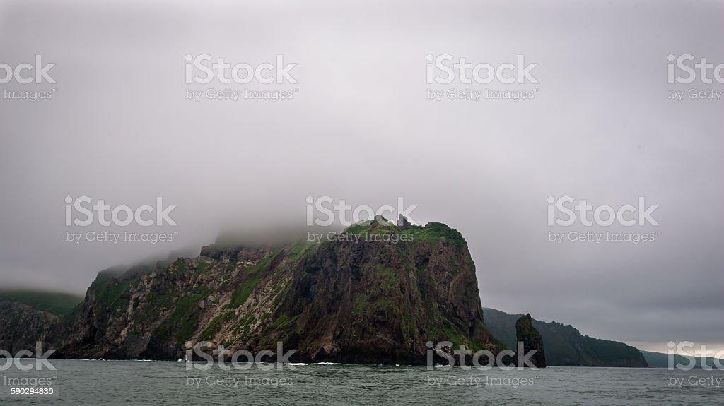 Green cliffs forming the coastline of the Avacha Bay Стоковые фото Стоковая фотография