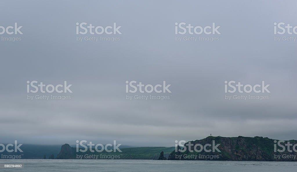 Green cliffs forming the coastline of the Avacha Bay royaltyfri bildbanksbilder