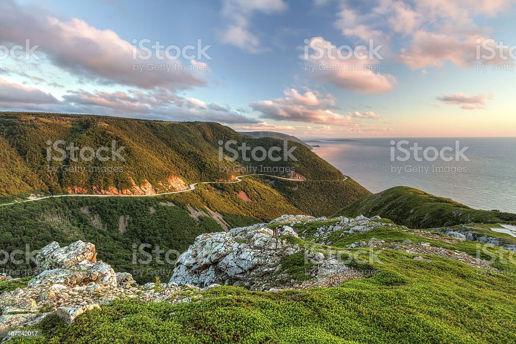 Green Cliffs Overlooking Cabot Trail stock photo