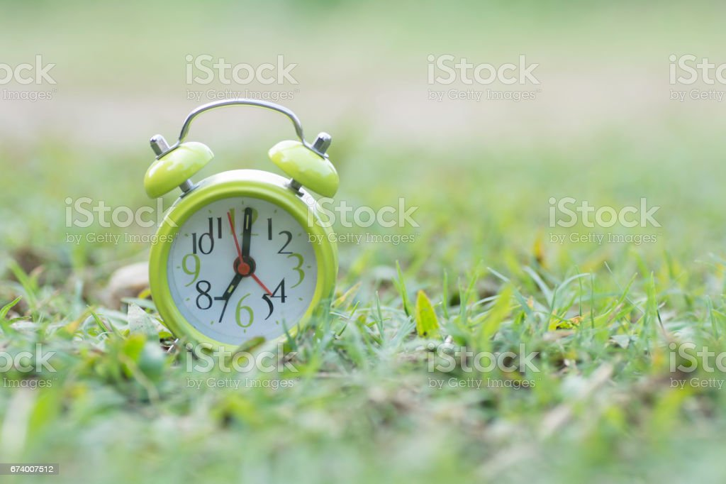 Green clock on the grass royalty-free stock photo
