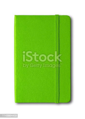 Green closed notebook mockup isolated on white