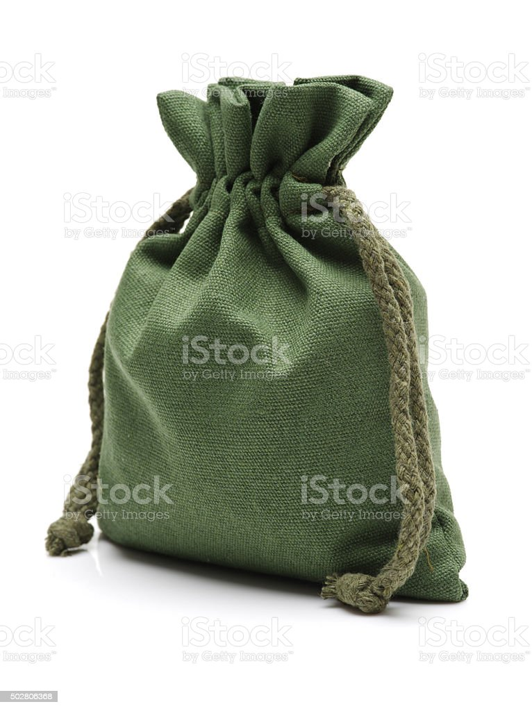 Green cloth bags stock photo