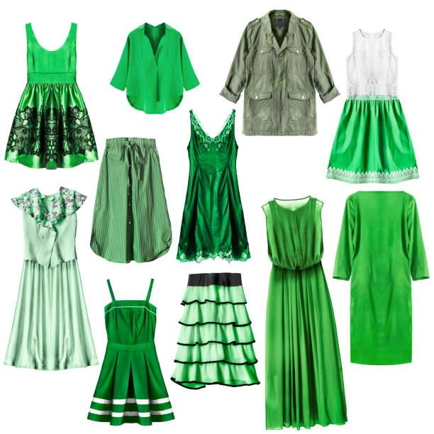 grüne kleidung isoliert - rüschenbluse stock-fotos und bilder