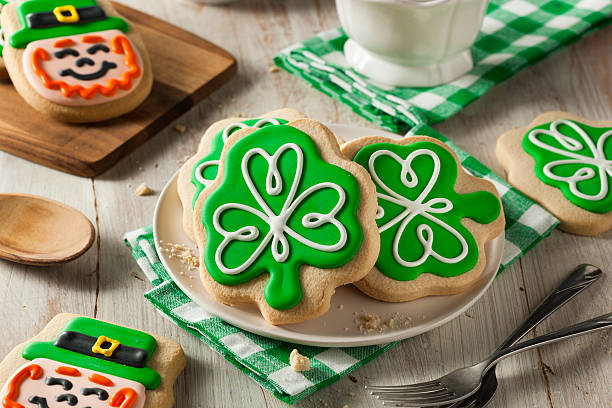 green clover st patricks day cookies - st patricks days stock photos and pictures