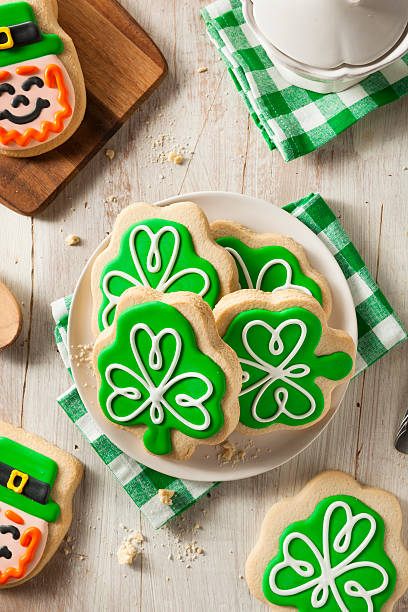 green clover st patricks day cookies - st patricks day food stock photos and pictures