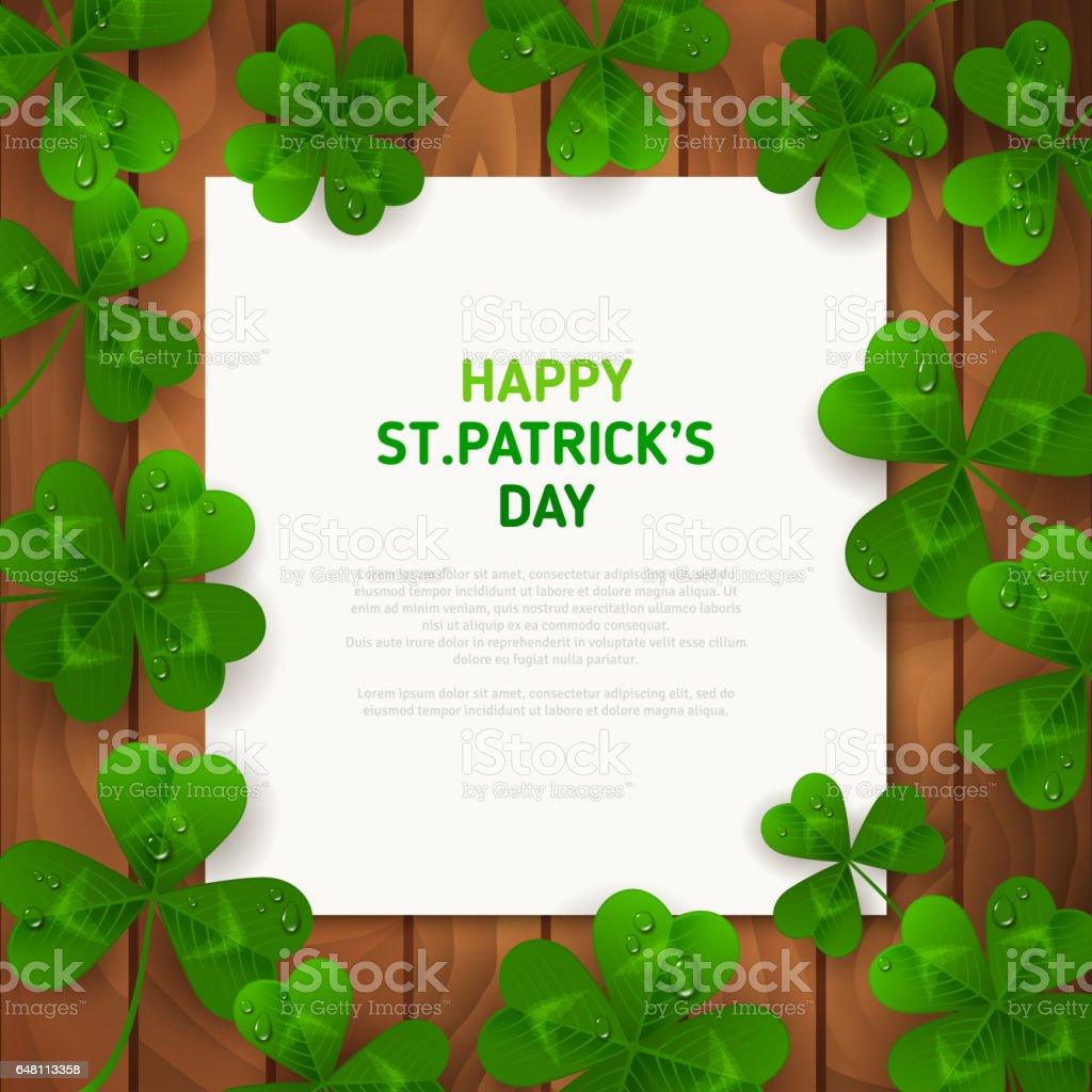 Green Clovers on Brown Wood with Square Frame. stock photo