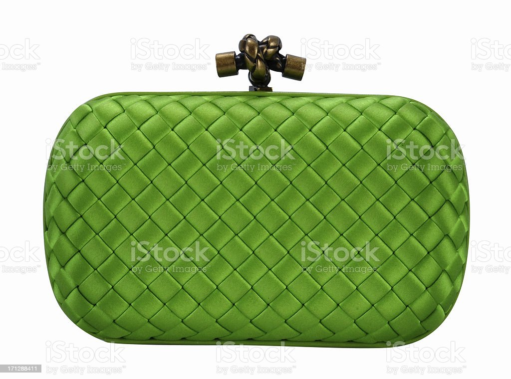 A green clutch handbag isolated on white stock photo