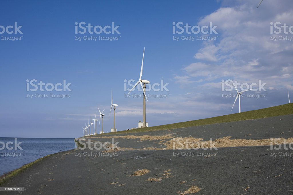 Green coastal energy stock photo