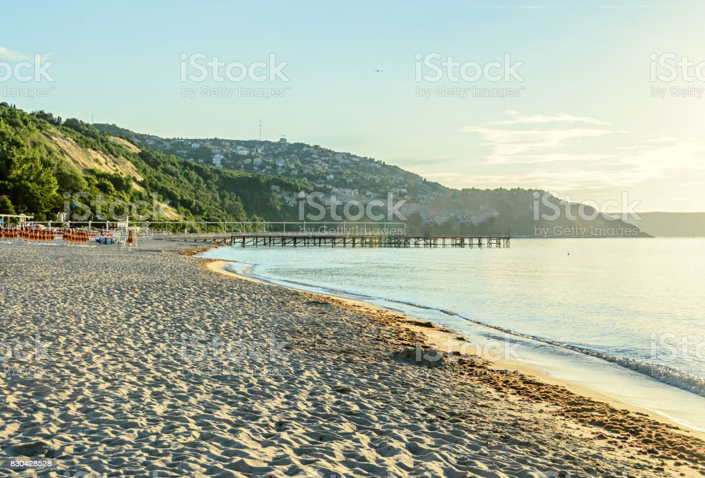 Green coastline at the Black Sea shore from Albena, Bulgaria with golden sands, blue fresh water stock photo