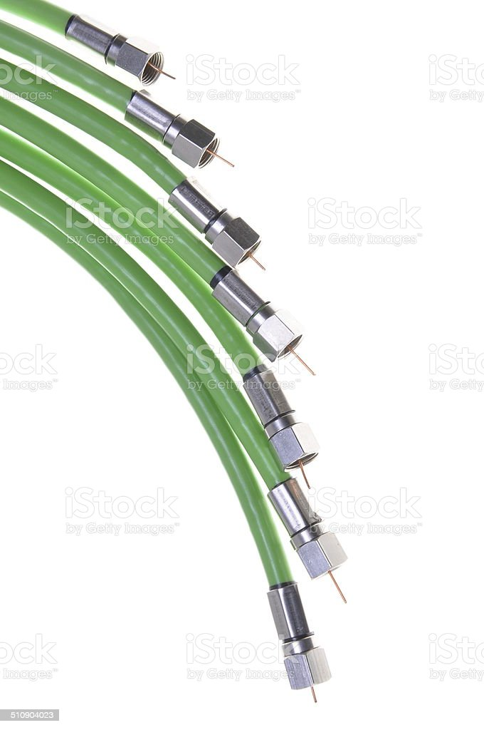 Green coaxial cable tv with connectors stock photo