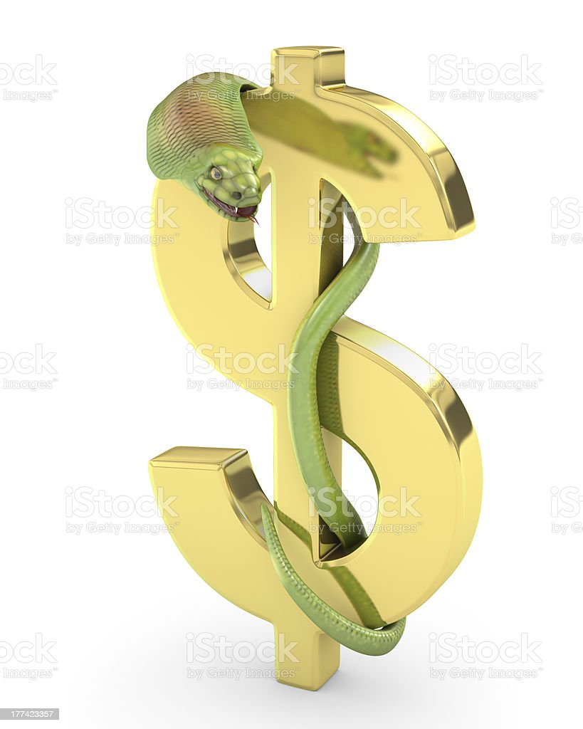 Green cobra on a gold dollar sign royalty-free stock photo