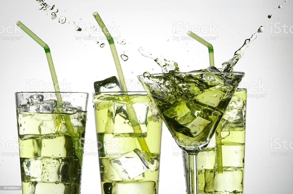Green  cocktail and ice royalty-free stock photo