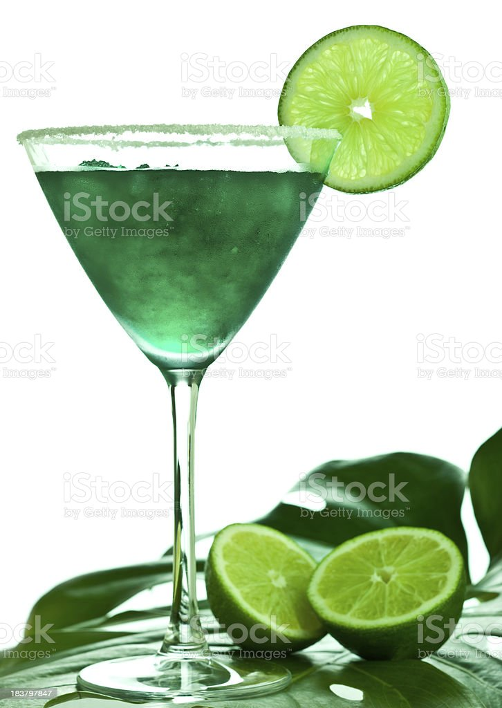 Green cocktail and lime royalty-free stock photo